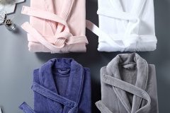 Bathrobes-Showlcollar-Velour-Different-Colors-Single-Pile